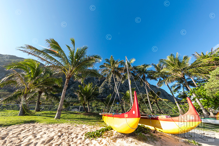 Outrigger canoes on Waimanalo Beach, Windward O'ahu.