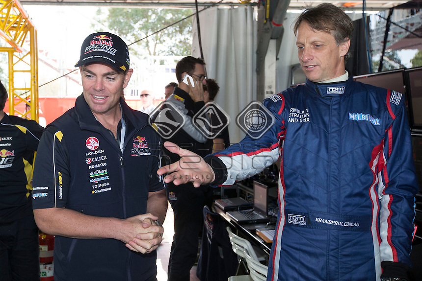 Craig Lowndes with skateboard legend Tony Hawk during the Melbourne Grand Prix, Melbourne Grand Prix  2014 Australian V8 Supercars  at the Albert Park, Melbourne, Victoria, March 13, 2014.<br /> &copy; Sport the library / Mark Horsburgh