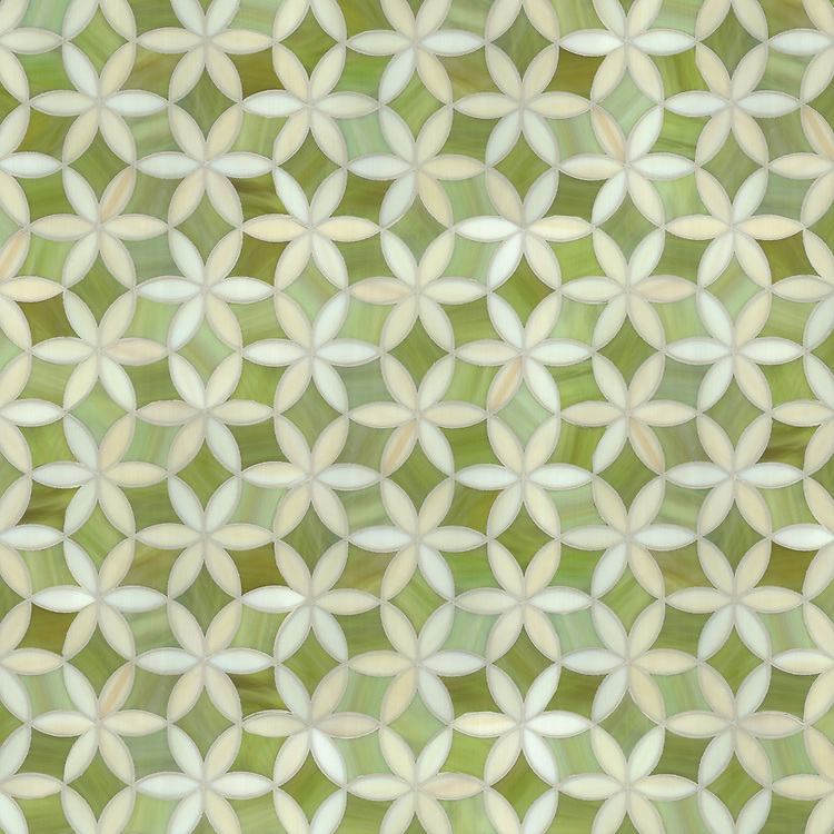 Fiona, a waterjet mosaic shown in Peridot and Quartz jewel glass, is part of the Silk Road® collection by New Ravenna.