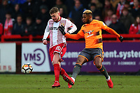 Ben Kennedy of Stevenage and Leandro Bacuna of Reading during Stevenage vs Reading, Emirates FA Cup Football at the Lamex Stadium on 6th January 2018