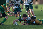Mark Selwyn reaches out to secure the loose ball ahead of Rod Schubert & Kim Halavatau. Counties Manukau Premier Club Rugby game between Drury & Manurewa, played at the Drury Domain on Saturday May 31st 2008. Manurewa led 15 - 7 at halftime and went onto win 25 - 12.