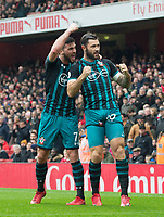 Southampton's Shane Long celebrating Southampton's Charlie Austin goal during the EPL - Premier League match between Arsenal and Southampton at the Emirates Stadium, London, England on 8 April 2018. Photo by Andrew Aleksiejczuk / PRiME Media Images.