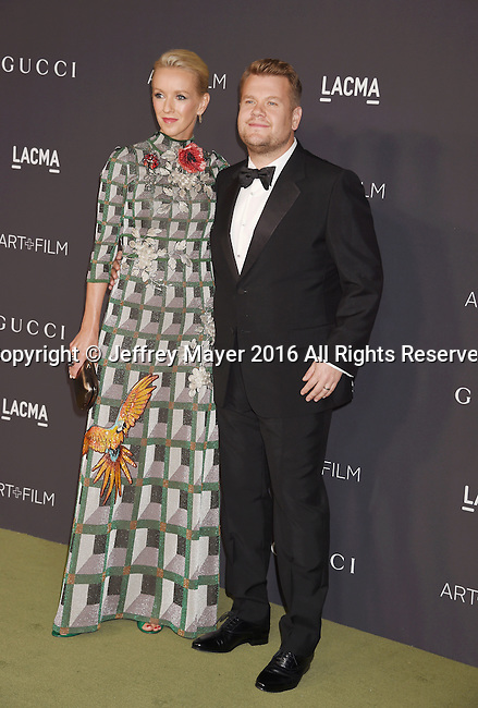 LOS ANGELES, CA - OCTOBER 29: Producer Julia Carey (L) and TV personality James Corden attend the 2016 LACMA Art + Film Gala honoring Robert Irwin and Kathryn Bigelow presented by Gucci at LACMA on October 29, 2016 in Los Angeles, California.