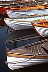 Vintage wooden rowboats on Lake Union, Seattle, WA.