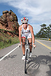 BOUILDER, CO - JULY 11, 2011:  Professional Triathlete Julie Dibens of Great Britain trains and poses for a photo shoot on July 11, 2011 in Boulder, Colorado. (Photo by Donald Miralle)