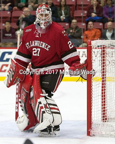 Kyle Hayton (SLU - 27) - The Harvard University Crimson defeated the St. Lawrence University Saints 6-3 (EN) to clinch the ECAC playoffs first seed and a share in the regular season championship on senior night, Saturday, February 25, 2017, at Bright-Landry Hockey Center in Boston, Massachusetts.
