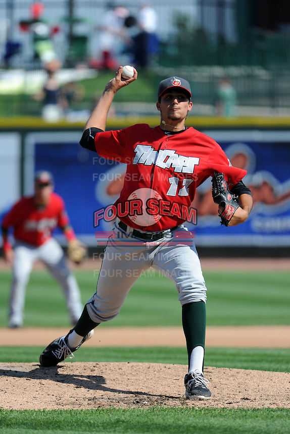 Fort Wayne TinCaps pitcher Zach Eflin (12) during a game against the Great Lakes Loons on August 18, 2013 at Dow Diamond in Midland, Michigan.  Fort Wayne defeated Great Lakes 4-3.  (Mike Janes/Four Seam Images)