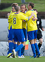 Morton's Peter Weatherson celebrates after he scores Morton's second goal ...