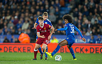 Ben Woodburn of Liverpool goes past Hamza Choudhury of Leicester City  during the football league cup Carabao Cup 3rd round match between Leicester City and Liverpool at the King Power Stadium, Leicester, England on 19 September 2017. Photo by Andy Rowland.