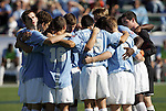 14 November 2010: UNC's starters huddle before the game. The University of Maryland Terrapins defeated the University of North Carolina Tar Heels 1-0 at WakeMed Soccer Park in Cary, North Carolina in the ACC Men's Soccer Tournament Championship game.