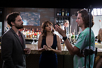 Tag (2018)  <br /> JAKE JOHNSON, RASHIDA JONES and director JEFF TOMSIC on the set of<br /> *Filmstill - Editorial Use Only*<br /> CAP/MFS<br /> Image supplied by Capital Pictures