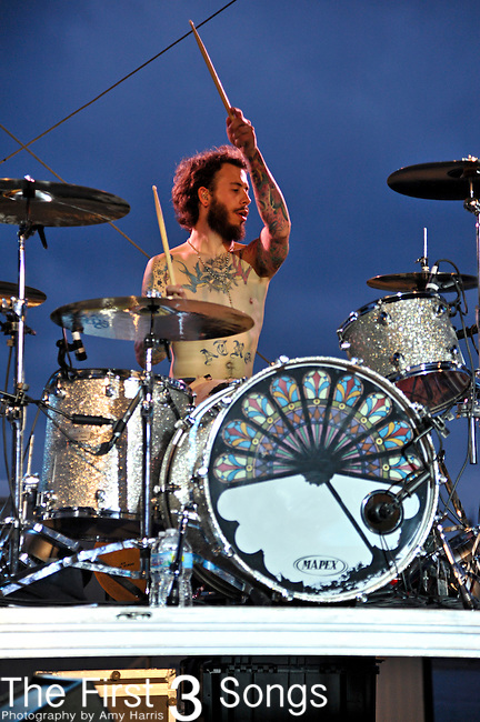 Aaron McVeigh of Foxy Shazam performs at the Bunbury Music Festival in Cincinnati, Ohio.