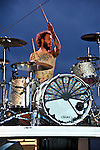 Aaron McVeigh of Foxy Shazam performs at the Bunbury Music Festival in Cincinnati, Ohio.