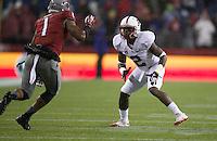 SEATTLE, WA - September 28, 2013: Stanford cornerback Wayne Lyons takes on Washington State wide receiver Vince Mayle during play at CenturyLink Field. Stanford won 55-17