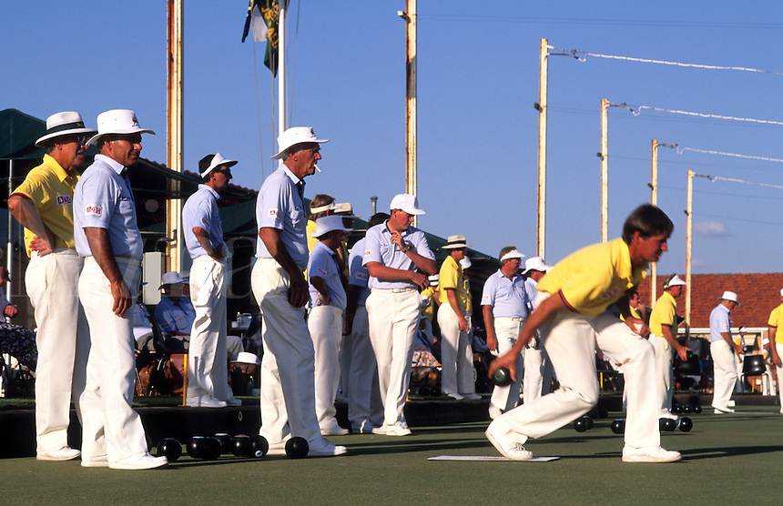 Adelaide, Australia. Lawn bowling at the mens lawn bowling tournament competition.