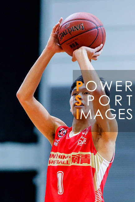 Cheung Yin Lung #1 of Nam Ching Basketball Team concentrates prior to a free throw during the Hong Kong Basketball League game between Eagle and Nam Ching at Southorn Stadium on June 22, 2018 in Hong Kong. Photo by Yu Chun Christopher Wong / Power Sport Images