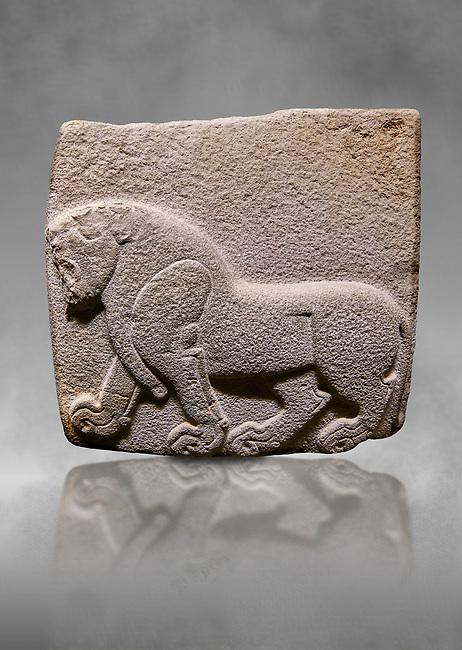 Aslantepe Hittite relief sculpted orthostat stone panel. Limestone, Aslantepe, Malatya, 1200-700 B.C. . Anatolian Civilisations Museum, Ankara, Turkey. Depiction of a horse walking.<br /> <br /> Against a grey art background.