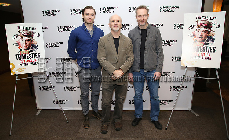 "Seth Numrich, Dan Butler and Peter McDonald attends the ""Travesties"" Meets The Press on March 6, 2018 at the Roundabout Theatre in New York City."