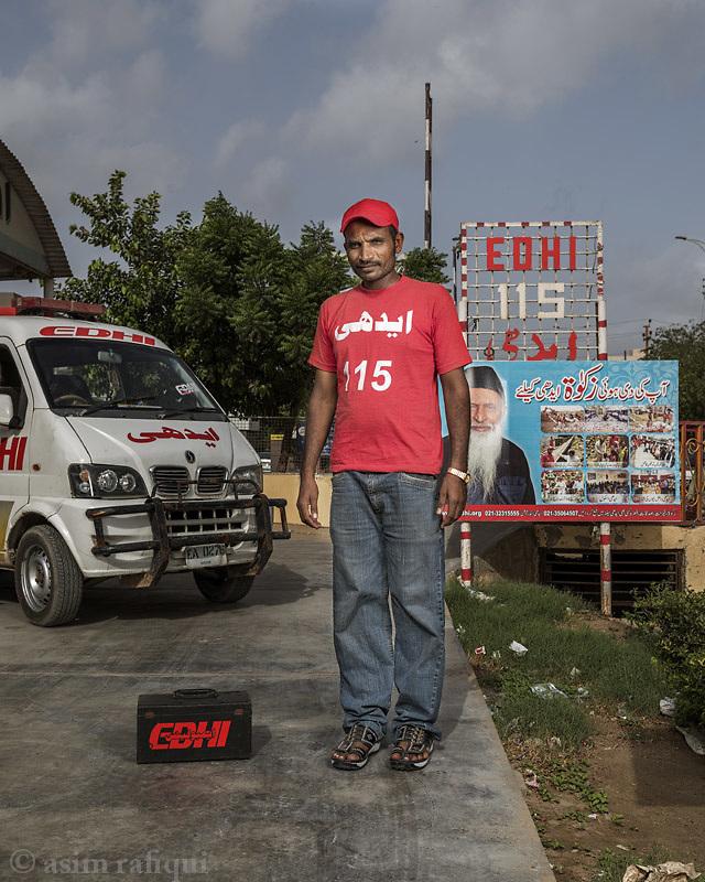 Mehmood Mian, Edhi Foundation ambulances services.