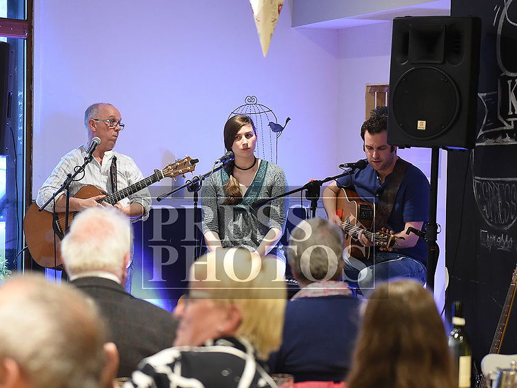 Musicians Gerry Hodgers, Sarah Guppy and Seanie Vaughan at the Good Thyme Cafe for the PolskaEire Festival in Drogheda. Photo:Colin Bell/pressphotos.ie