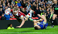 Wigan Warriors' Dominic Manfredi scores his side's third try<br /> <br /> Photographer Alex Dodd/CameraSport<br /> <br /> Betfred Super League Grand Final - Wigan Warriors v Warrington Wolves - Saturday 13th October 2018 - Old Trafford - Manchester<br /> <br /> World Copyright © 2018 CameraSport. All rights reserved. 43 Linden Ave. Countesthorpe. Leicester. England. LE8 5PG - Tel: +44 (0) 116 277 4147 - admin@camerasport.com - www.camerasport.com
