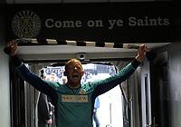 St Mirren's Craig Samson celebrates after winning the Scottish Professional Football League Ladbrokes Championship at the Paisley 2021 Stadium, Paisley on 14.4.18.