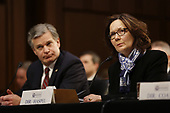 """Director Gina Haspel, Central Intelligence Agency (CIA), right, testifies before the United States Senate Select Committee on Intelligence during an open hearing on """"Worldwide Threats"""" on Capitol Hill in Washington, DC on Tuesday, January 29, 2019.  At left is Director Christopher Wray, Federal Bureau of Investigation (FBI).<br /> Credit: Martin H. Simon / CNP"""
