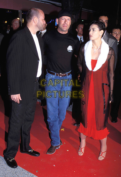 DEMI MOORE & BRUCE WILLIS.Cannes Film Festival 1997.Ref: 026.fur collar coat, ex celebrity couple, full length, full-length.www.capitalpictures.com.sales@capitalpictures.com.© Capital Pictures