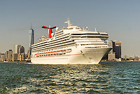 The Carnival Sunshine cruise ship departs New York harbor on Saturday, June 25, 2016. A study by the New York Economic Development Corp. of the economic impact of cruise ships on the New York economy revealed that both the passengers and crew of ships docked pumped $144.6 million into the city's economy. (© Richard B. Levine)