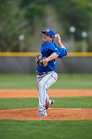 Toronto Blue Jays pitcher William Ouellette (50) during an exhibition game against the Canada Junior National Team on March 8, 2020 at Baseball City in St. Petersburg, Florida.  (Mike Janes/Four Seam Images)
