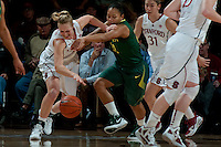 STANFORD, CA-JANUARY 5, 2012 - Taylor Greenfield fights for a loose ball during PAC-12 conference play against the University of Oregon.