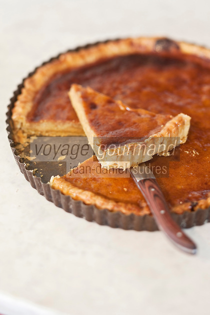 Europe/France/Nord-Pas-de-Calais/59/Nord/Godewaersvelde: Tarte à la cassonade recette de l'Estaminet du Centre //  France, Nord, Godewaersvelde, brown sugar pie recipe for Estaminet Centre