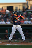 Ruben Castro (17) of the Lancaster JetHawks bats during a game against the Bakersfield Blaze at The Hanger on August 5, 2015 in Lancaster, California. Bakersfield defeated Lancaster, 12-5. (Larry Goren/Four Seam Images)