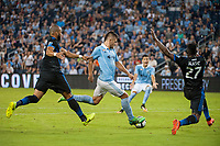 Kansas City, KS - Wednesday August 9, 2017: Victor Bernardez, Diego Rubio, Fatai Alashe during a Lamar Hunt U.S. Open Cup Semifinal match between Sporting Kansas City and the San Jose Earthquakes at Children's Mercy Park.