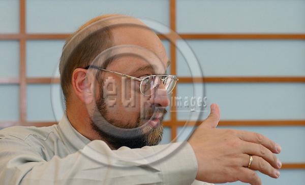 BRUSSELS-BELGIUM - September 19, 2003---Martin SCHULZ, German Member of the European Parliament, Vice-Chairman of the Group of European Socialists in the EP and i.a. Member of the Committee on Citizens' Freedoms and Rights, Justice and Home Affairs; Candidate for the next  Chair of the Group of European Socialists and most likely No. 1 on the list of  the SPD for the coming election (2004) to the EP; during a press briefing in the EP---Photo: Horst Wagner/eup-images. com