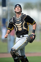 Pittsburgh Pirates catcher Chris Harvey (18) during an Instructional League game against the Tampa Bay Rays on September 27, 2014 at the Charlotte Sports Park in Port Charlotte, Florida.  (Mike Janes/Four Seam Images)
