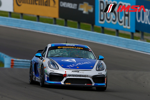 IMSA Continental Tire SportsCar Challenge<br /> Continental Tire 120 at The Glen<br /> Watkins Glen International, Watkins Glen, NY USA<br /> Thursday 29 June 2017<br /> 35, Porsche, Porsche Cayman GT4, GS, Russell Ward, Damien Faulkner<br /> World Copyright: Jake Galstad/LAT Images
