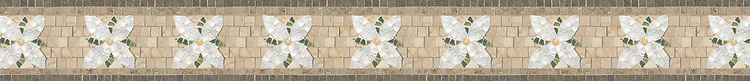 "4 1/2"" Flower Lattice, a hand-cut stone mosaic, shown in polished Verde Luna, Crema Valencia, Calacatta Tia, tumbled Crema Marfil, honed Montevideo, and Jura Gray."