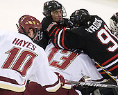 Jimmy Hayes (BC - 10), Chris Student (NU - 3), Cam Atkinson (BC - 13), Robbie Vrolyk (NU - 91) - The Boston College Eagles defeated the Northeastern University Huskies 5-1 on Saturday, November 7, 2009, at Conte Forum in Chestnut Hill, Massachusetts.
