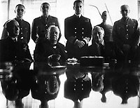 Allies grand-strategy conference in N. Africa. Adm. E. J. King, Mr. Churchill; President Roosevelt; Standing, Maj. Gen. Sir Hastings Ismay; Lord Louis Mountbatten; and Field Marshall Sir John Dill.  1943.  New York Times Paris Bureau Collection.  (USIA)  <br /> Exact Date Shot Unknown
