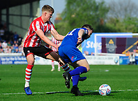 Lincoln City's Mark O'Hara vies for possession with Tranmere Rovers' Connor Jennings<br /> <br /> Photographer Chris Vaughan/CameraSport<br /> <br /> The EFL Sky Bet League Two - Lincoln City v Tranmere Rovers - Monday 22nd April 2019 - Sincil Bank - Lincoln<br /> <br /> World Copyright © 2019 CameraSport. All rights reserved. 43 Linden Ave. Countesthorpe. Leicester. England. LE8 5PG - Tel: +44 (0) 116 277 4147 - admin@camerasport.com - www.camerasport.com