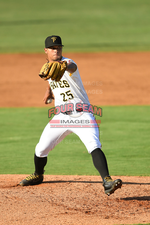 Bristol Pirates relief pitcher Luis Arrieta (25) in action against the Pulaski Yankees at Boyce Cox Field on July 8, 2019 in Bristol, Virginia. The Yankees defeated the Pirates 5-0. (Tracy Proffitt/Four Seam Images)
