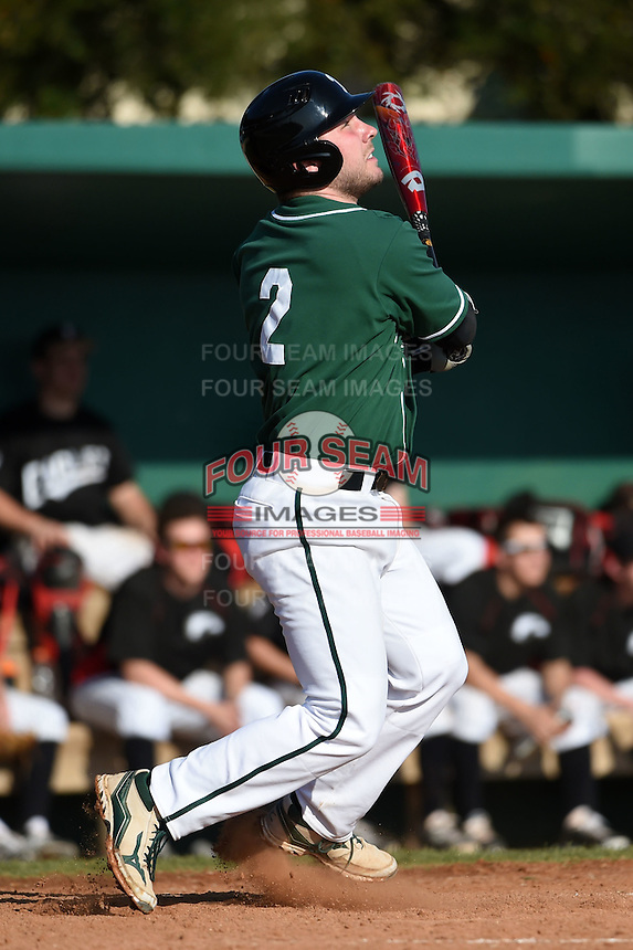 Plymouth State Panthers Justin Walsh (2) during the first game of a doubleheader against the Edgewood Eagles on March 17, 2015 at Terry Park in Fort Myers, Florida.  Edgewood defeated Plymouth State 12-3.  (Mike Janes/Four Seam Images)