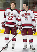 Devin Tringale (Harvard - 22), Tommy O'Regan (Harvard - 21) - The Harvard University Crimson defeated the visiting Princeton University Tigers 5-0 on Harvard's senior night on Saturday, February 28, 2015, at Bright-Landry Hockey Center in Boston, Massachusetts.