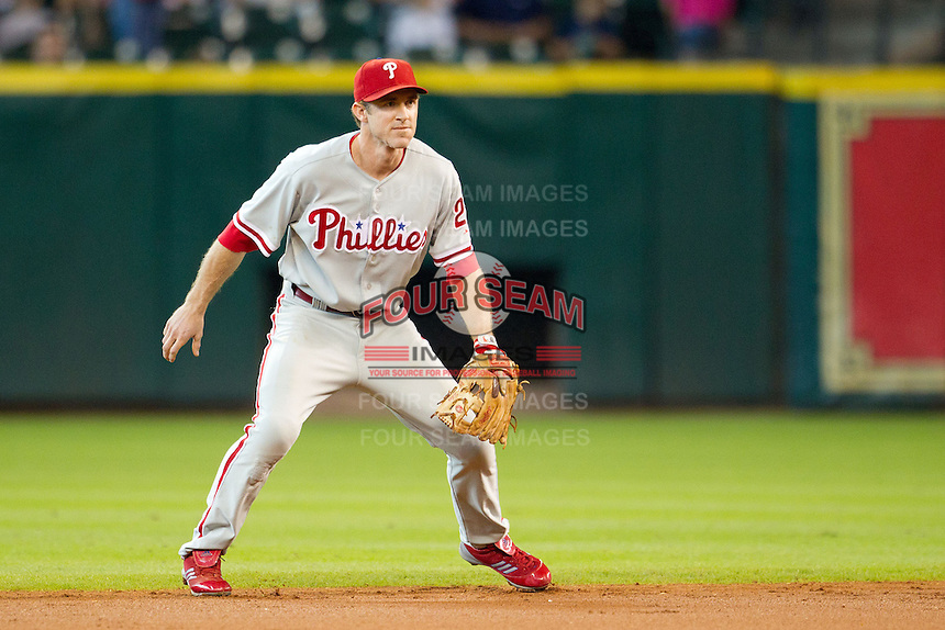 Philadelphia Phillies second baseman Chase Utley #26 on defense during the Major League baseball game against the Houston Astros on September 16th, 2012 at Minute Maid Park in Houston, Texas. The Astros defeated the Phillies 7-6. (Andrew Woolley/Four Seam Images).