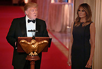 United States President Donald J. Trump (L) makes remarks as First Lady Melania Trump listens as they host a White House Historical Association dinner at the White House, May 15, 2019, in Washington, DC. The organization's goal is to promote the public's understanding, appreciation and enjoyment of the White House. <br /> CAP/MPI/CNP/MT<br /> ©MT/CNP/MPI/Capital Pictures
