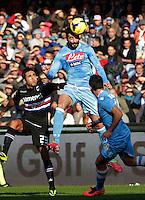 Raul Albiol  durante l'incontro di calcio di Serie A  Napoli Sampdoria allo  Stadio San Paolo  di Napoli , 6 gennaio 2014