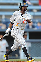 West Virginia Power designated hitter Alen Hanson #3 swings at a pitch during a game between the West Virginia Power and the Asheville Tourists at McCormick Field, Asheville, North Carolina April 9, 2012. The Tourists won 13-5  8-4  (Tony Farlow/Four Seam Images)..