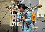 February 19, 2017, Chiba, Japan - A member of Japan's art unit Maywa Denki, Novmichi Tosa plays music with his unique instrument gadget Pachi-moku for their live performance at the Wonder Festival 2017 Winter at Chiba, suburban Tokyo on Sunday, February 19, 2017. Novmichi Tosa unveiled his new gadget Parabora at the plastic -model trade show.    (Photo by Yoshio Tsunoda/AFLO) LwX -ytd-