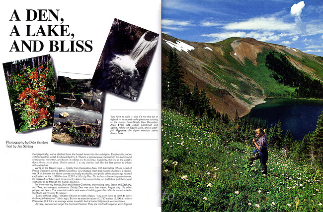 "Beautiful British Columbia Magazine Article - ""A Den, A Lake, and Bliss"" -  Photography by Dale Sanders."